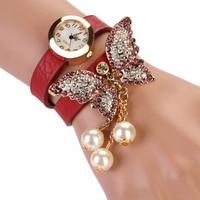 Women s watches relojes mujer 2017 fashion butterfly pearl pendant ladies watch clock bracelet watch relogio.jpg 200x200