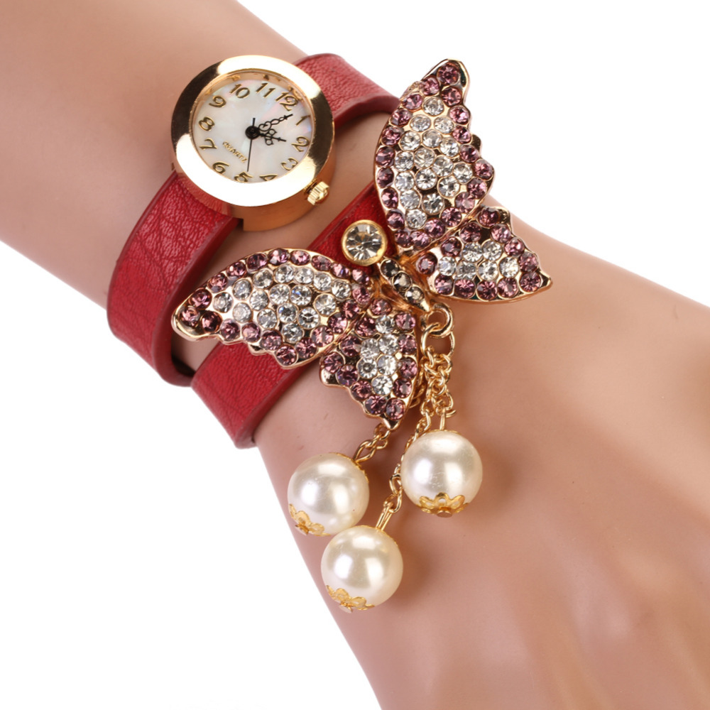 8 Colors New Fashion relogio feminino Casual PU Leather Wristwatch Women Bracelet Watch Butterfly Pendant Quartz Watches