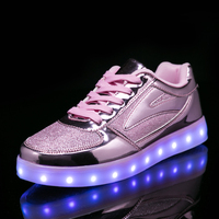 2018 New 26 40 USB Charger Glowing Sneakers Led Children Lighting Shoes Boys Girls Illuminated Luminous