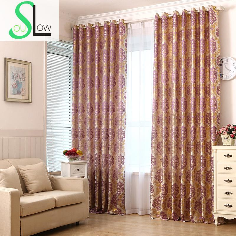 Slow soul wine red purple gold silver black silk jacquard - Black and gold living room curtains ...