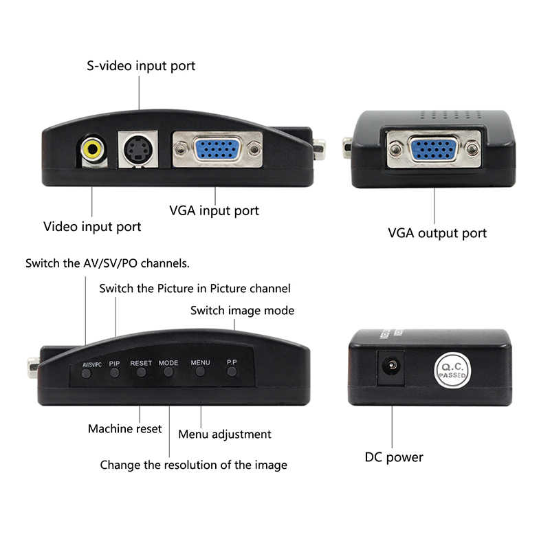 Grosir Rca Av Komposit S-Video untuk Vga Converter Kotak Cctv Dvr Pc Laptop Tv Proyektor Vga Input untuk Vga Output Video Convert