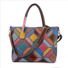 Brand Graceful GENUINE LEATHER Designer Female Colorful Handmade Patchwork Bags Women Bamboo Handle Crossbody Handbag