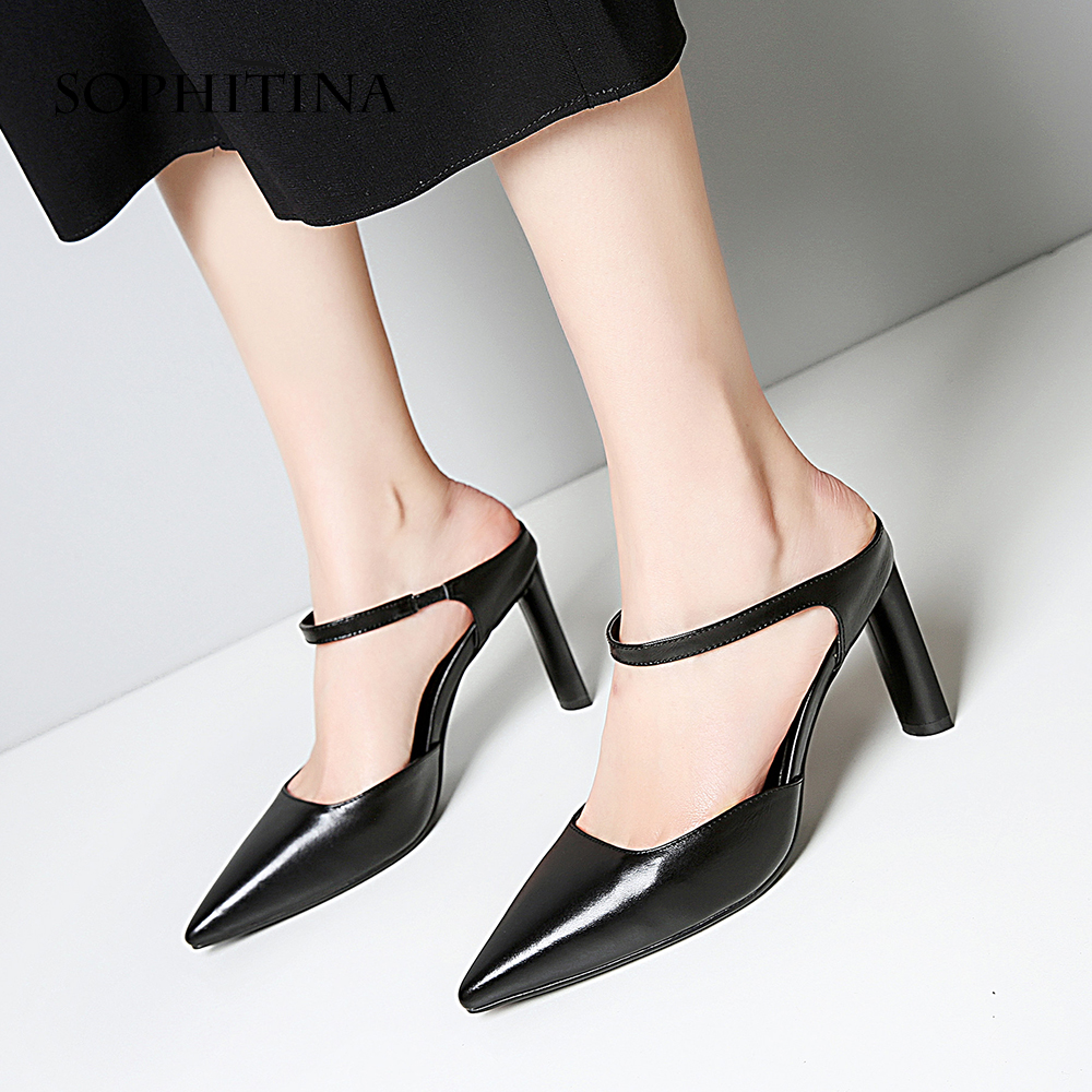 SOPHITINA Mules Woman Sandals High Quality Black Nude Cow leather Dress Shoes Elegant Pointed Toe Buckle