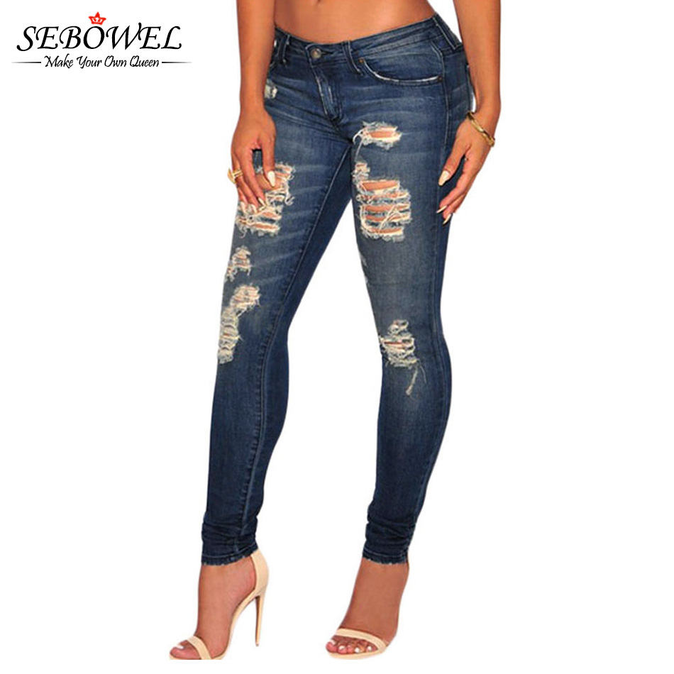 Innovative Destroyed Distressed Stretch Denim Ripped Jeans  44224