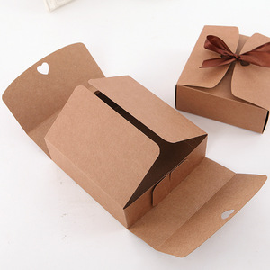 Image 3 - 20 pz/lotto Naturale Kraft Scatola di Carta Regalo Scatola di Imballaggio Nastro Marrone Scatole di Biscotti di Imballaggio per i Dolci Della Caramella Sbuffi Box Presente scatola di cartone