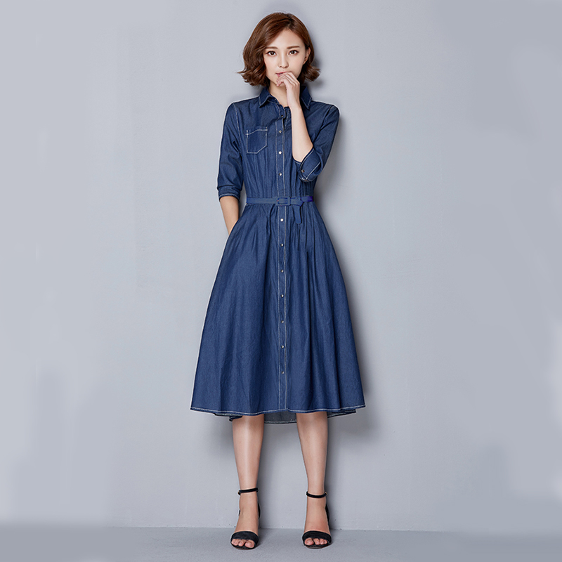 Korean Casual Jeans Dress 2017 Las Elegant Long Vestido Fifth Sleeve Blue Jean Dresses For Women Winter Autumn In From S