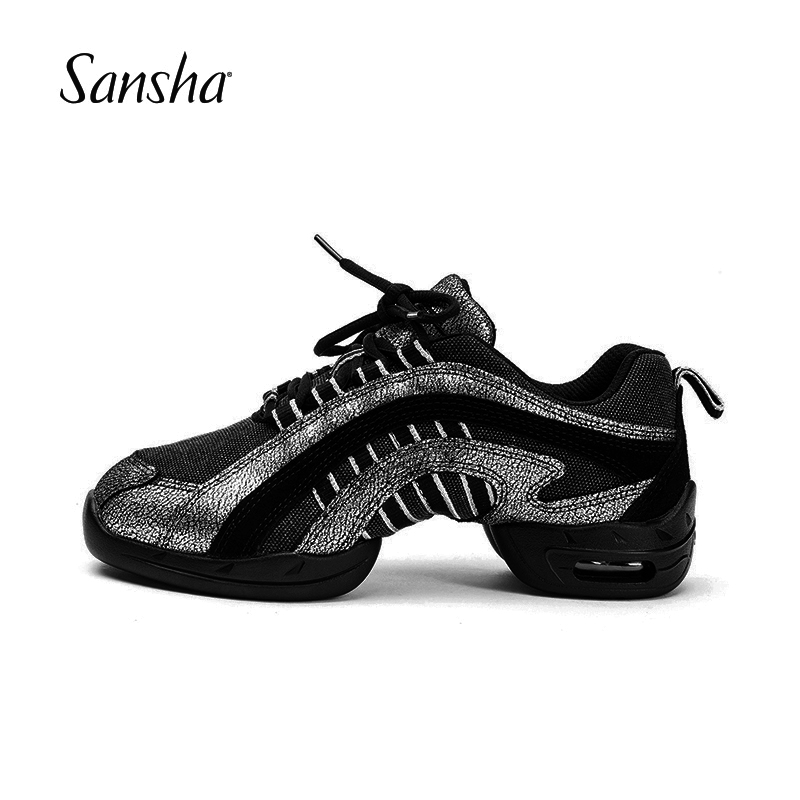 Sansha Dance Sneakers Canvas Leather Upper PU Split sole Air Cushion Women Girls Men Low Top