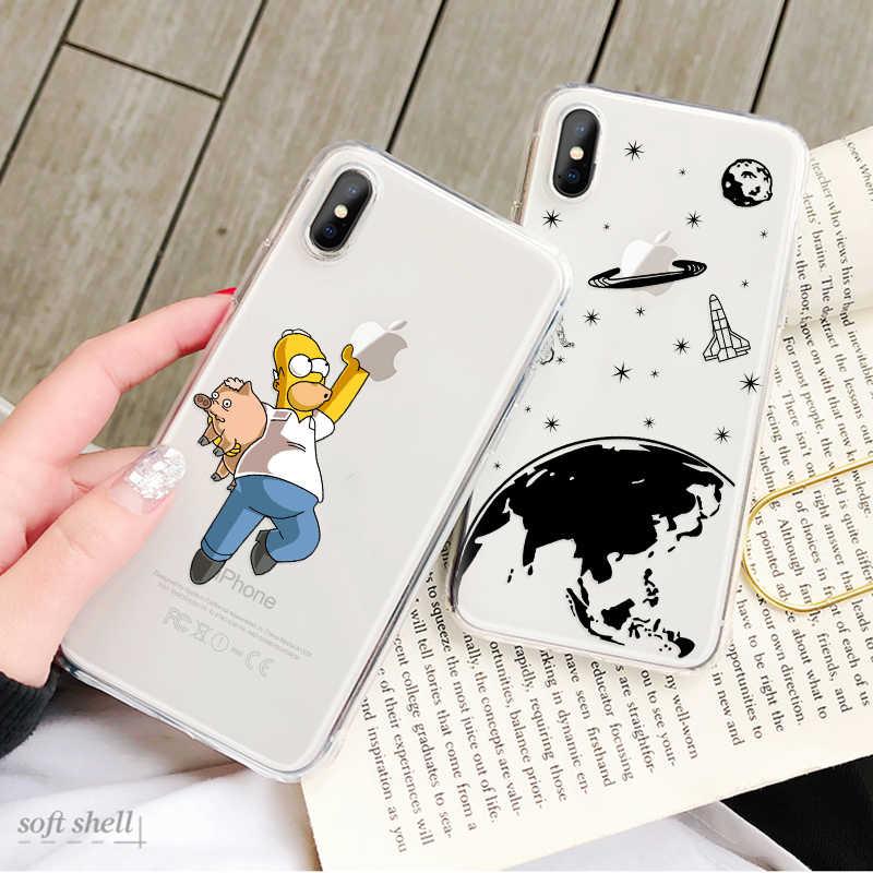 Untuk iPhone 7 Case Silicon Phone Cover Tpu Lucu Kartun Kasus untuk iPhone 6 S 6 8 7 plus Coque Fundas untuk iPhone X Max XR Capa