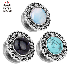 2018 KUBOOZ piercing jewelry stainless steel stone logo ear gauges plugs and tunnels body mix size lot