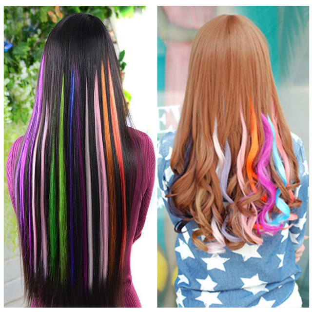 2pcs 50cm Colorful Single Clip In One Piece Hair Extensions