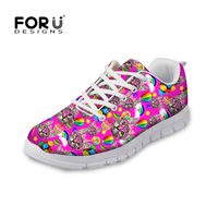 Cute Pink Kitty Cat Print Women Shoes Casual Mesh Flat Sport Shoes For College Girl Student