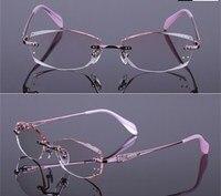 Eye Glasses Frame Diamond Cutting Edge Boutique Office Titanium Spectacle Eyeglasses Frame Women Decorations Optical Glasses