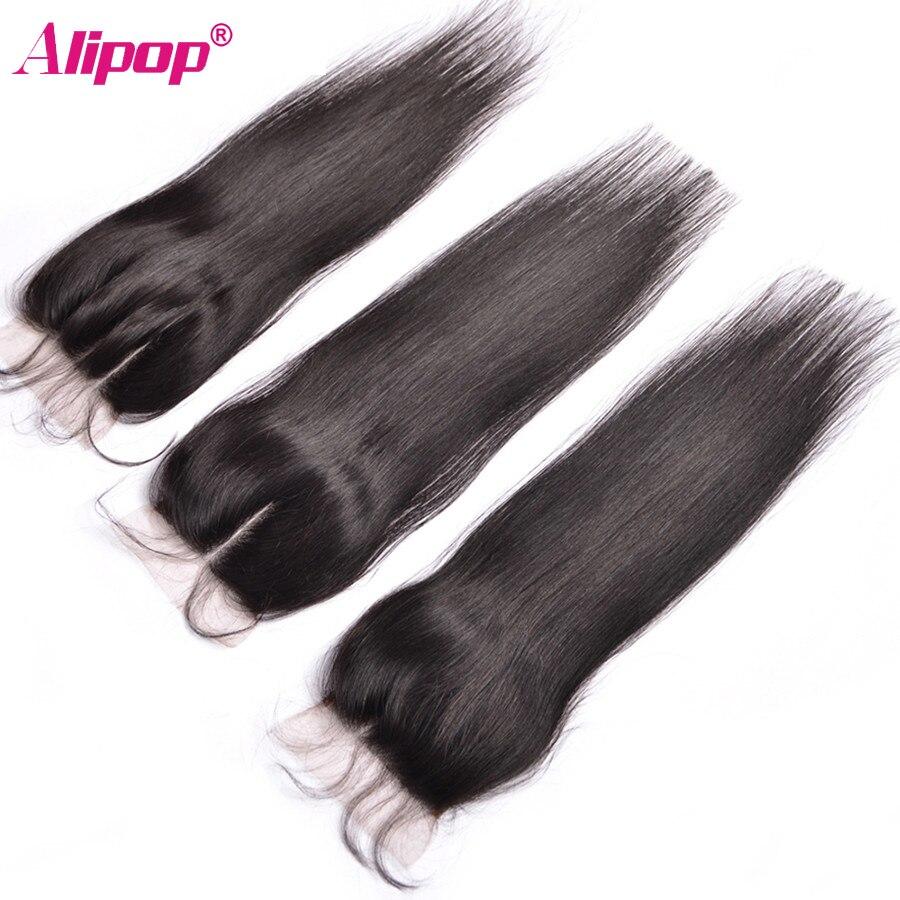 ALIPOP բրազիլական ուղիղ ժանյակային - Մարդու մազերը (սև) - Լուսանկար 2