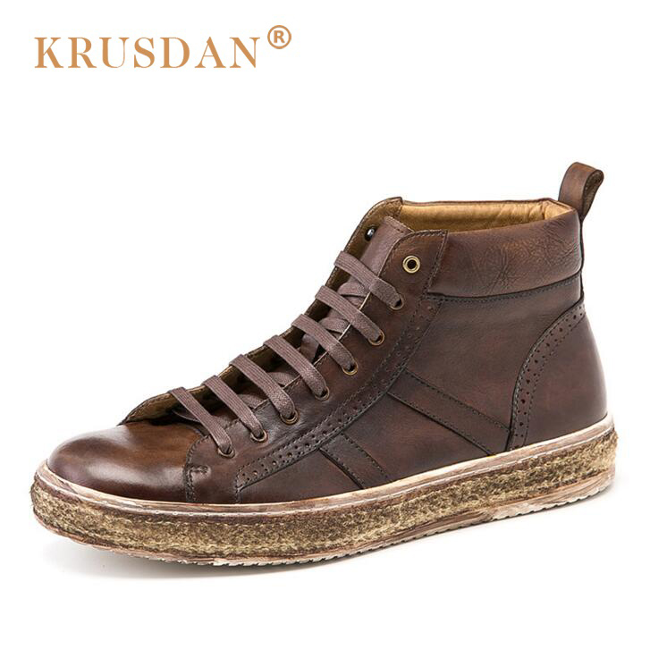 [krusdan]2018 New Men Flats Hand Made Genuine Leather Men High-top Casual Shoes Woven Grass Retro Shoes Men Brogue Shoes hot sale mens italian style flat shoes genuine leather handmade men casual flats top quality oxford shoes men leather shoes