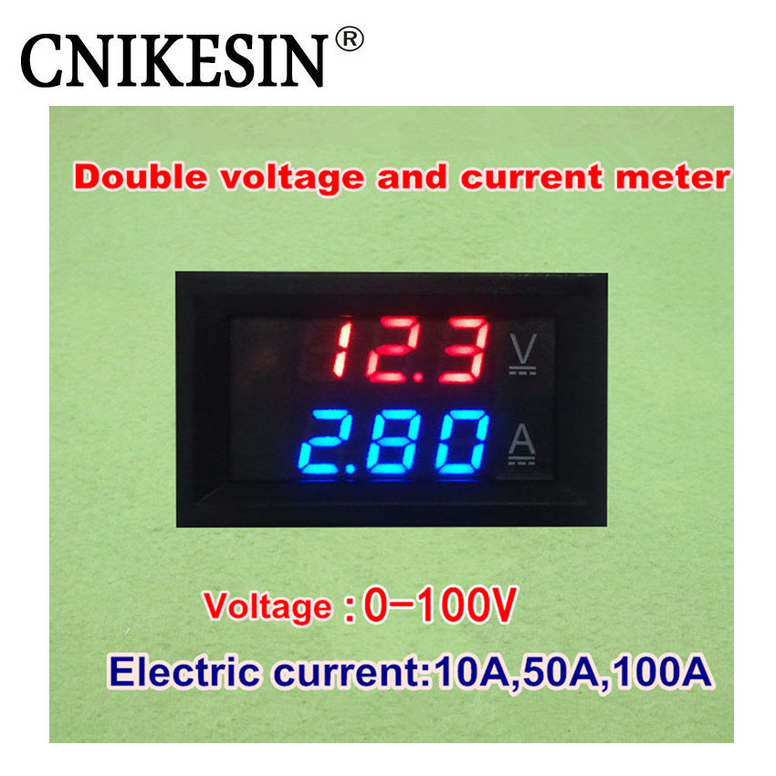 CNIKESIN 0.28 DC 0-100V 10A Digital Voltmeter Ammeter Red + RED LED Dual Display Voltage Current Indicator Monitor Detector