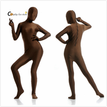 2017 Adult Full Body Spandex Lycra Zentai Suit Brown Tight Suits Pure Color Halloween Party Unitard