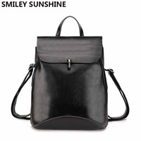 Black Vintage Genuine Leather Backpack School Shoulder Bags Multifunction Female Bagpack Ladies Back Pack 2018 sac a dos femme