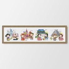 Путешествие по миру Россия Счетный и штампованный Набор для вышивания крестиком DIY Вышивка Рукоделие украшение дома мультяшная картина