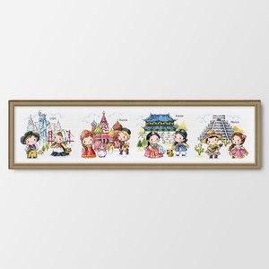 Image 1 - Podróż dookoła świata rosja liczone i wybite krzyż zestaw do szycia DIY haft robótki dekoracji wnętrz obraz w stylu kreskówki