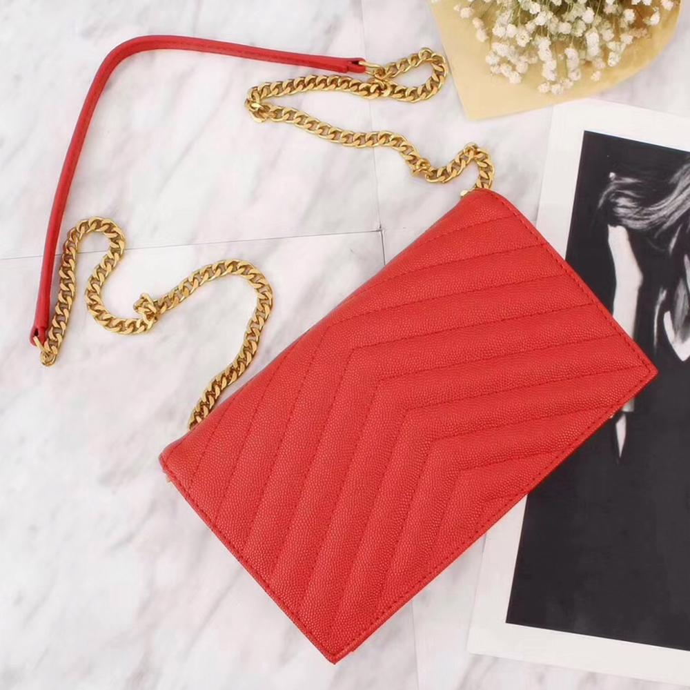 New hot sale real cow leather handbag flap monogram chain wallet in red GRAIN TEXTURED golden chain bags V shape messenger bags light silicone handbag w chain red golden