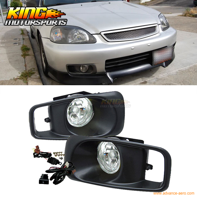 Fit For 99-00 Honda Civic EK JDM Driving Fog Lights Clear Lens USA Domestic Free Shipping Hot Selling fit for 02 08 toyota solara camry corolla oe fog light smoke lamps wiring kit included usa domestic free shipping hot selling