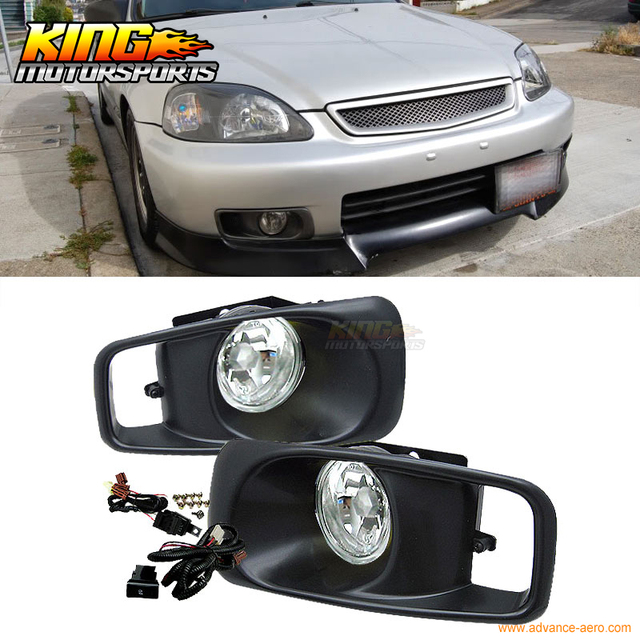 Fit For 99 00 Honda Civic EK JDM Driving Fog Lights Clear Lens USA Domestic