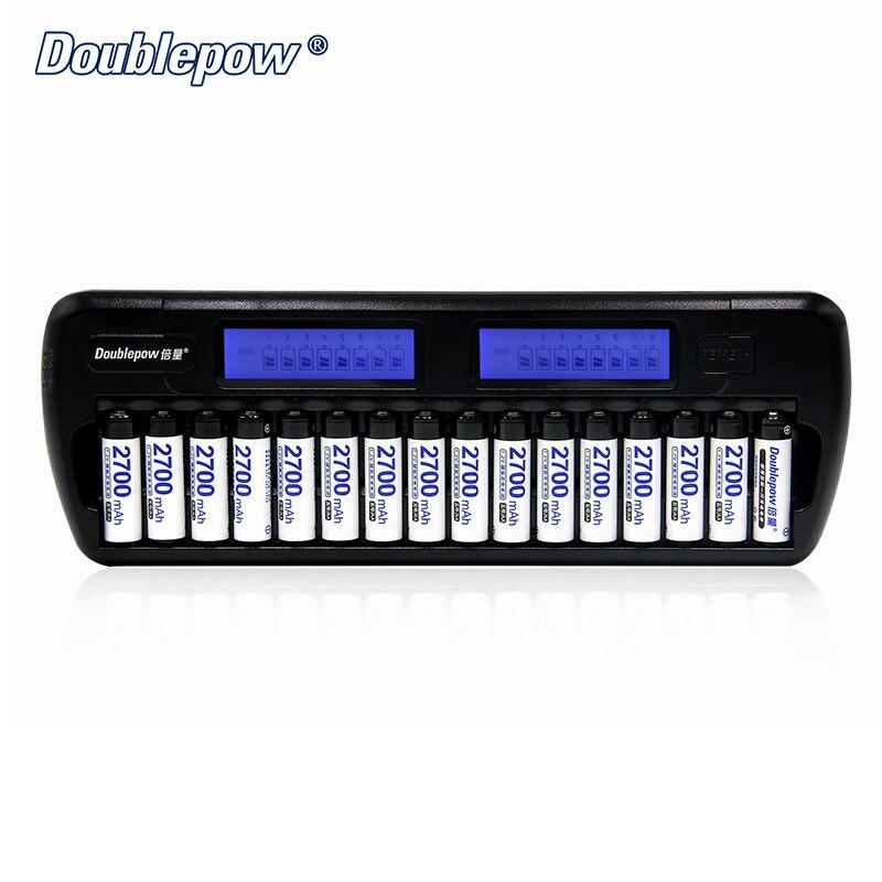 16 слотов Doublepow DP-K106 2-LCD внутренняя защита IC умный быстрое зарядное устройство + 16 шт. 1,2 В 2700mA Ni-MH аккумулятор