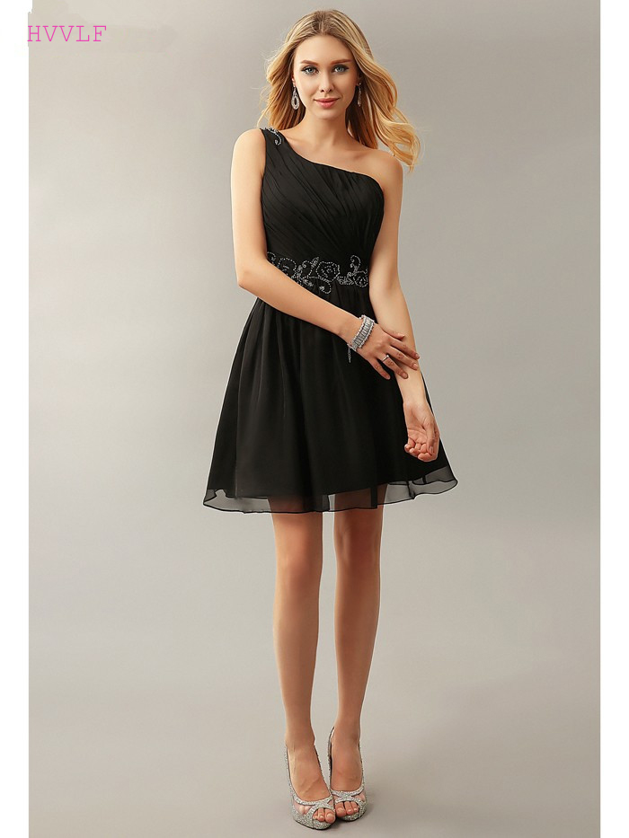 Black Homecoming Dresses A-line One-shoulder Short Mini Chiffon Beaded Backless Elegant Cocktail Dresses