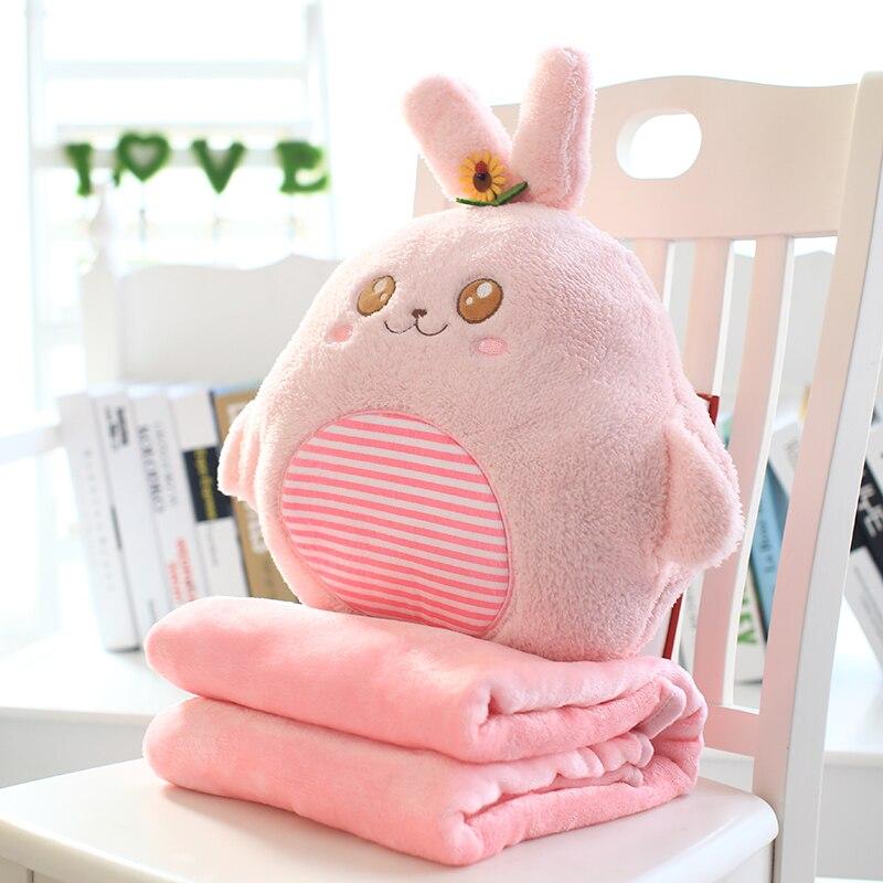 Candice guo! super cute plush toy cartoon flower rabbit Totoro dog bear cushion hand warmer blanket birthday Christmas gift 1pc