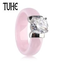 TUHE Новый мм 6 мм свет розовое керамическое кольцо для женщины с большой сияющий кристалл здоровый без царапин для женщин Свадебные обручени...