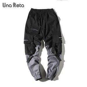 Image 3 - Una Reta Man Pants New Fashion Streetwear Stitching Color Joggers Hip Hop Long Pants Men Elastic Waist Cargo Pants Men