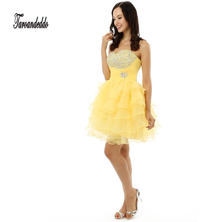 font b Yellow b font Organza Ruffled Short Homecoming font b Dress b font Mini