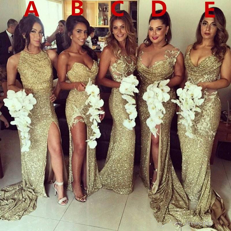Sparkle 2019   Bridesmaid     Dresses   For Women Mermaid Sweetheart Sequins Slit Long Cheap Under 50 Wedding Party   Dresses
