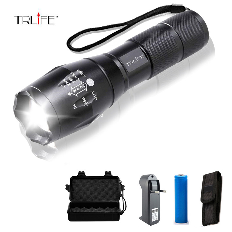 8000Lumens Flashlight T6/L2/V6 LED Flashlight High Power Torch Zoomable Lantern + 1*18650 Battery + Charger+Holster Holder led l t6 flashlight 8000lumens torch 5modes tactical flashlight zoomable flash light with usb battery charger