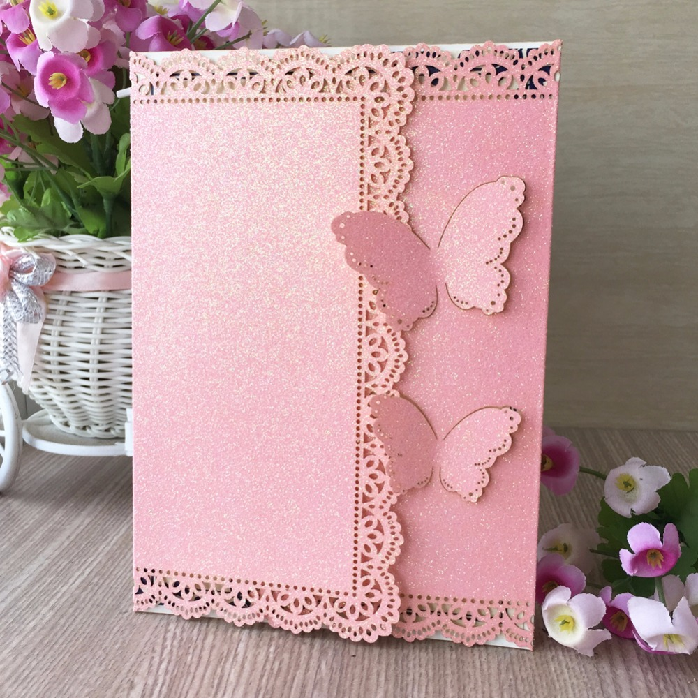 30pcs Bright Pink butterfly wedding invitation laser Luxury Wedding ...