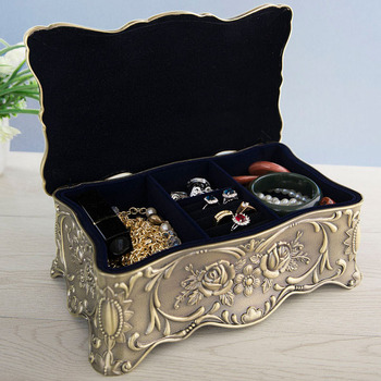 Size XL Vintage Metal Art Jewelry Storage Box Double Layers Jewelry Displays Flower Carved Stone