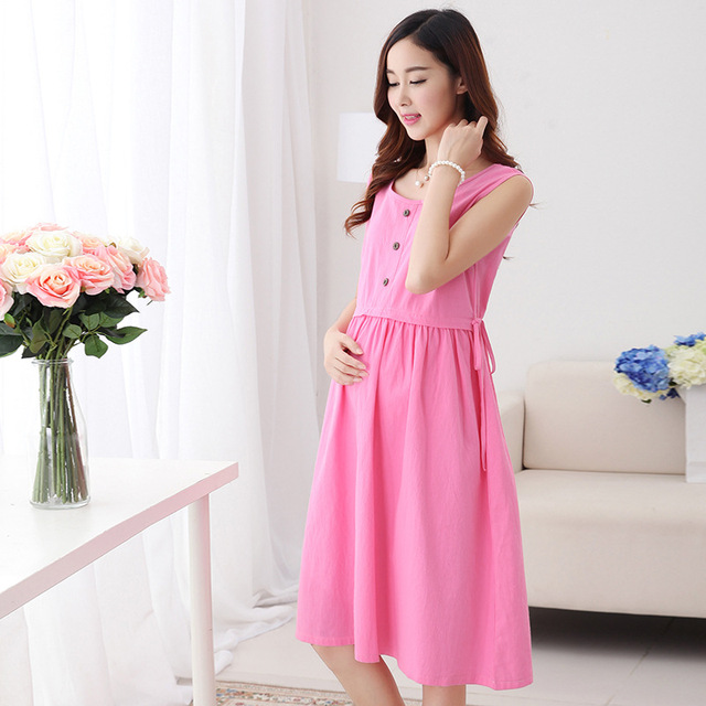 fb21f2d323f Cute Summer Maternity Clothes Dresses for Pregnant Women New Fashion  Pregnancy Lactating Solid Vest Dress Cotton Casual Clothing