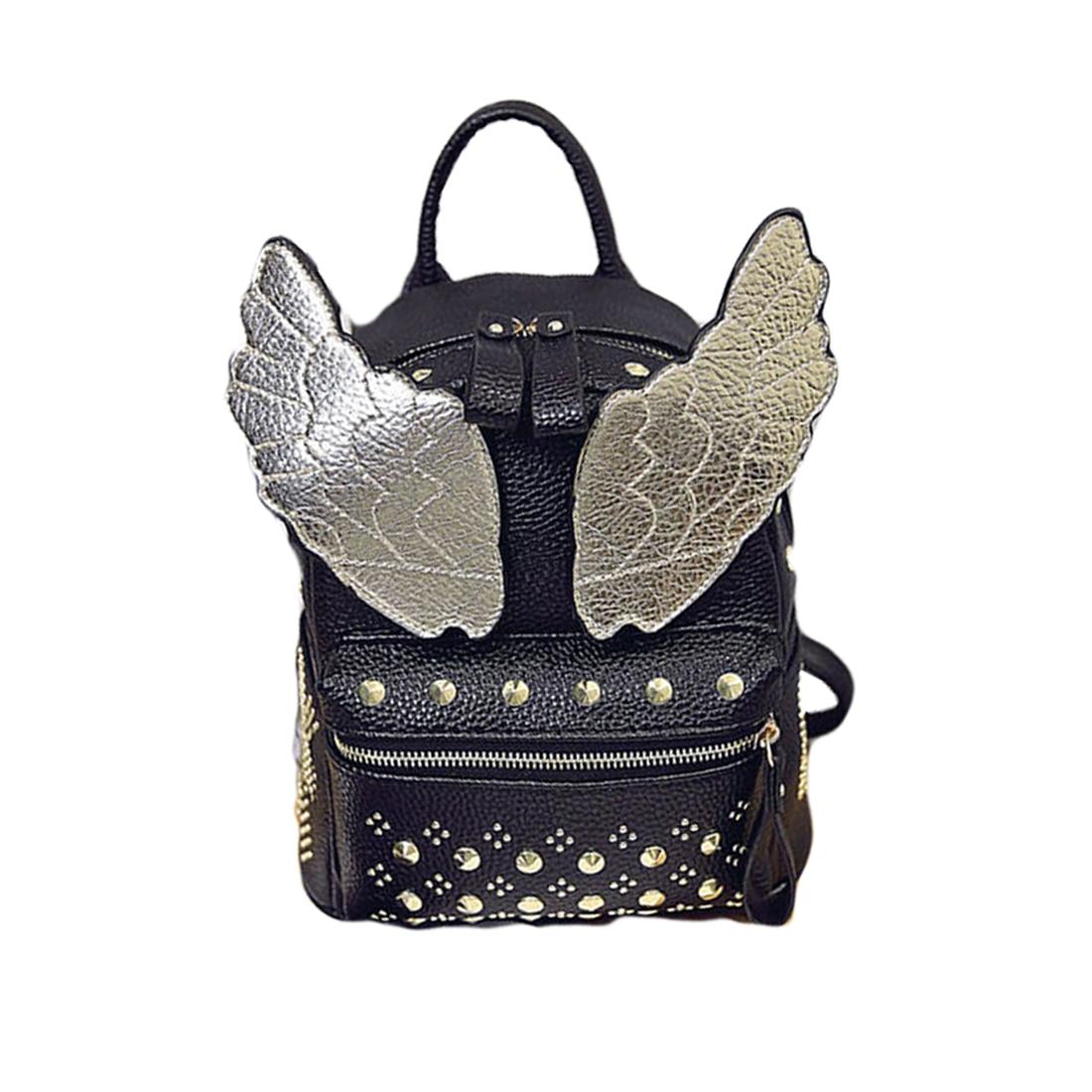 2017 Fashion Casual PU Leather Angel Wings School Backpacks for Teenage Girls Mochila Bolsas Travel laptop