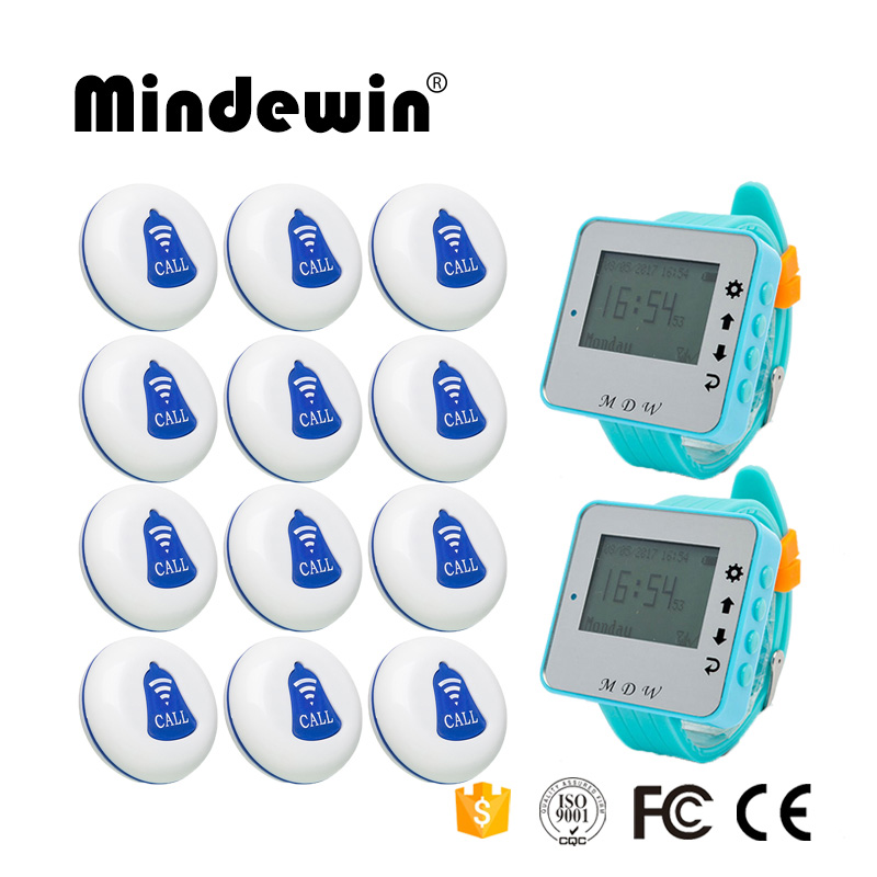 Restaurant Pager Wireless Calling System Waiter Calling System 12PCS Table Call Buttons M-K-1 + 2PCS Wrist Watch Pager M-W-1 mindewin restaurant wireless paging system 433mhz pager 12pcs table call button m k 1 and 2pcs wrist watch pager m w 1