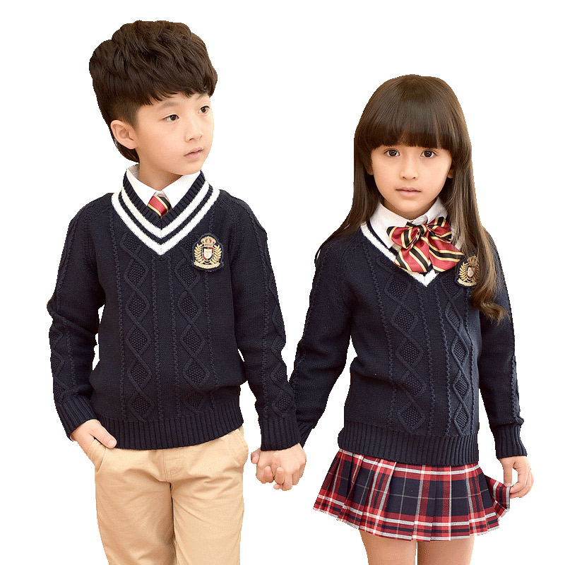 Children School Uniforms 2018 New Autumn Winter Clothes School Uniforms Suit Plaid Skirt Cardigan Sweater School Uniforms 3-10T цена