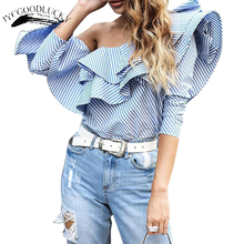Ruffles Elegant Off Shoulder Tops Blouse Women's Shirt Summer Top Woman 2017 Long Sleeve Fashion Tops Blusas Plus Size Blouses