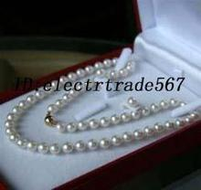 """( Necklace) lady's Beautiful women's jewelry 8-9MM White Akoya Cultured Solid Gold Pearl Necklace 18"""" + SET Set"""