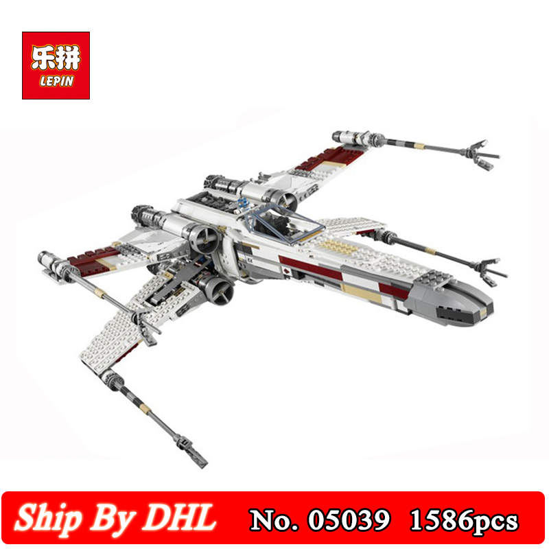 DHL Lepin 05039 Star Cool Model Wars Red Five X Starfighter wing Building Blocks 1586pcs Bricks Boy Toys Compatible 10240 lepin 05039 star wars red five x wing starfighter figure blocks construction building bricks toys for children compatible legoe