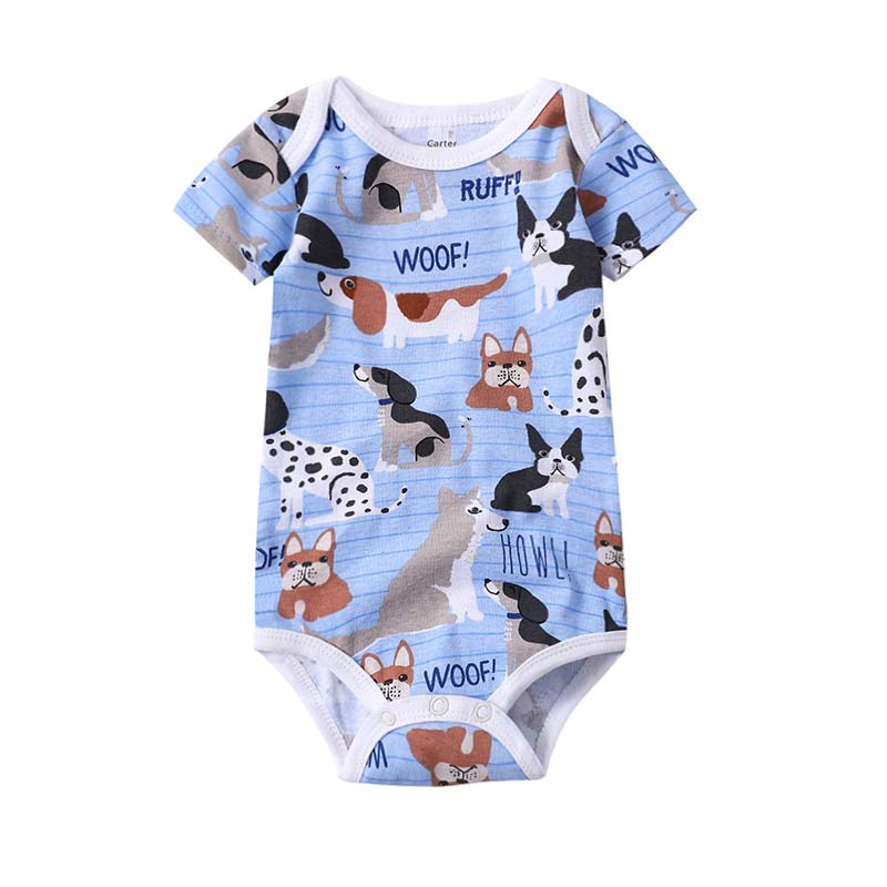 Baby boy clother Short Sleeve Romper new born crawler suit Cartoon Printed Infant Children clothing