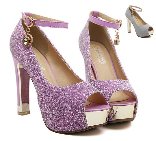 8df95e3adc9 Glitter lavender platform peep toe ankle strappy pumps Sexy women dress  shoes bridesmaid wedding shoes silver size 34 - 39