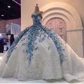 Robe De Mariage Vestido de Casamento Da Princesa Luxuoso Trem da Capela Vestido De Novia Tulle Com Laço vestido de Baile Vestidos de Casamento 2017