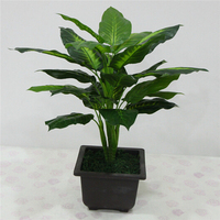Large 50CM Evergreen Artificial Plant 25 Leaves Lifelike Bush Potted Plants Plastic Green Tree Home Garden