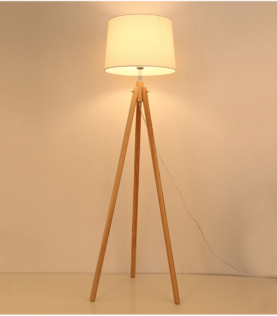 Nordic style wood Tripod floor lamp for reading room hotel room E27 ...