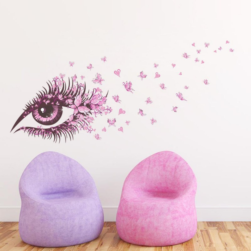Us 21 25 Offdecals Girls Women Pink Butterfly Flower Tree Wall Stickers Flower Wallpaper For Living Room Home Mural Decor In Wall Stickers From