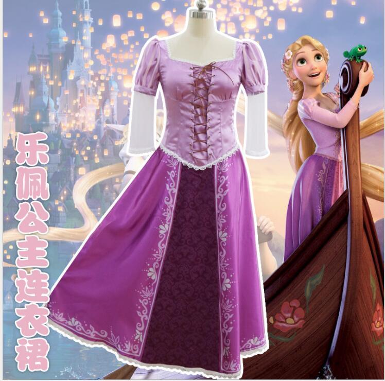 2018 Nice Purple Dress Adult Rapunzel Cosplay Costume Women Tangled Rapunzel Princess Dresses Halloween Party Free Shipping